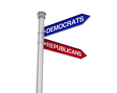 democrats: Democrats Republicans Direction Sign Stock Photo