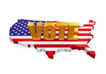 USA Map with Vote Text