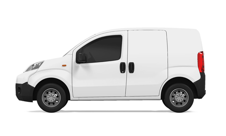 render: Delivery Van Isolated Stock Photo