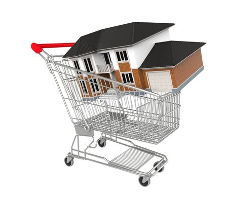 buy house: Shopping Cart with House Stock Photo