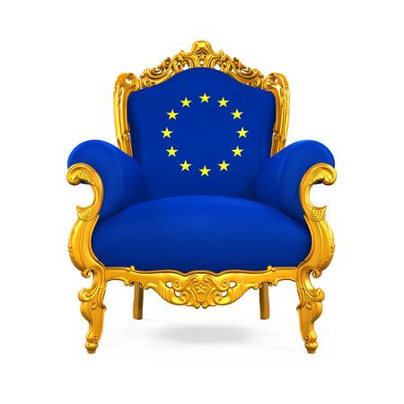 Throne Chair with European Union Flag Stock Photo