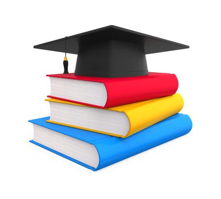 successful student: Graduation Cap and Books Stock Photo