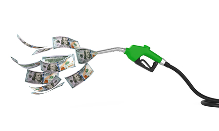 Gas Pump Nozzle and Dollar