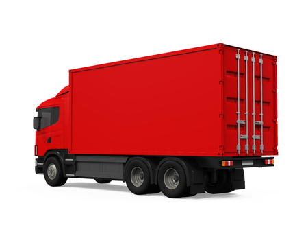 delivery truck: Red Cargo Delivery Truck Stock Photo