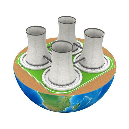Half Bol met Nuclear Power Plant Stockfoto