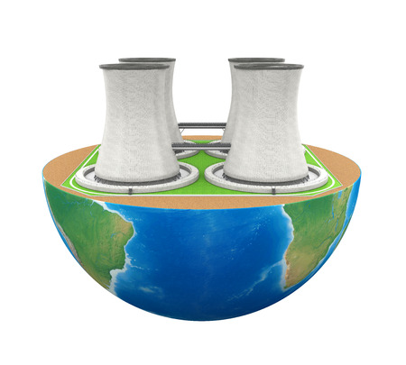 steam turbine: Half Globe with Nuclear Power Plant