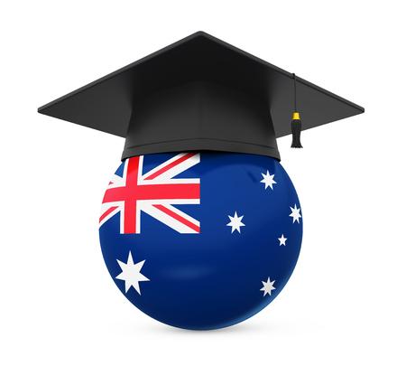 Graduation Cap with Australian Flag