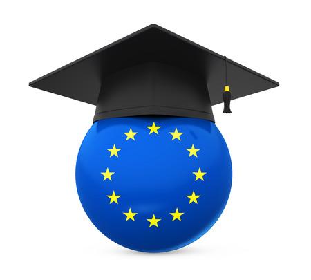 Graduation Cap with European Union Flag Stock Photo