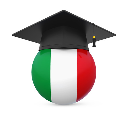 Graduation Cap with Italy Flag Stock Photo