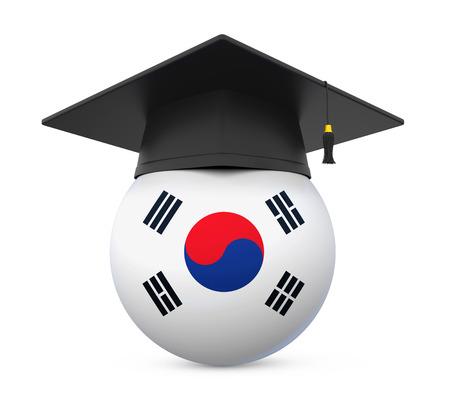 Graduation Cap with South Korea Flag