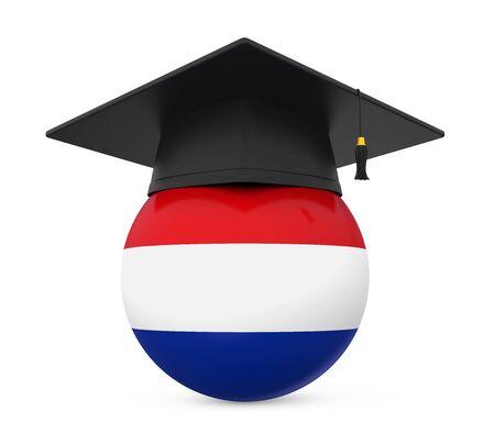 Graduation Cap with Netherlands Flag Stock Photo