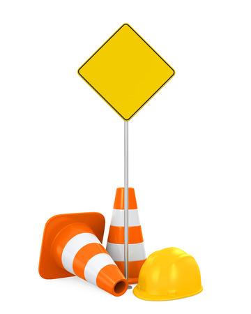 construction helmet: Traffic Cones, Safety Helmet and Blank Warning Sign
