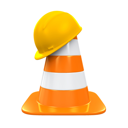 Traffic Cone and Safety Helmet
