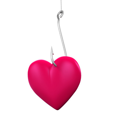finding a mate: Heart Shaped on the Fishing Hook Stock Photo