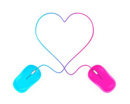mouse click: Heart Shaped and Computer Mouse Stock Photo