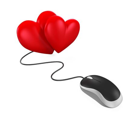 Heart Shaped and Computer Mouse Stock Photo