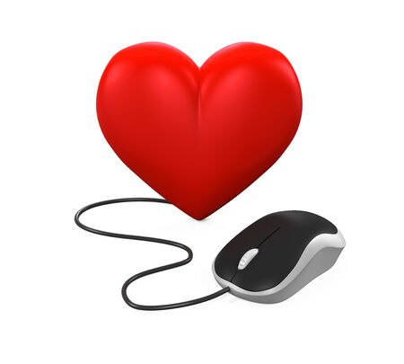 cyber woman: Heart Shaped and Computer Mouse Stock Photo