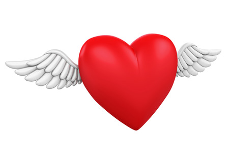 dating and romance: Red Heart with Wings Stock Photo