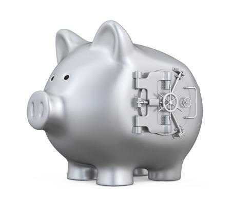 Piggy Bank mit Vault Tür Standard-Bild
