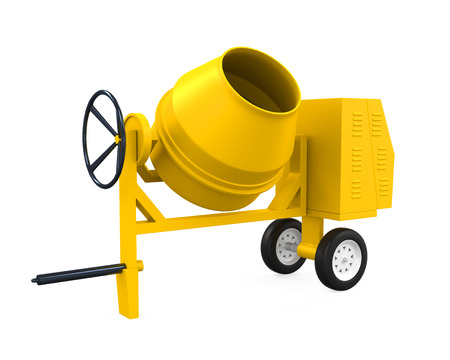 Yellow Concrete Mixer Stock Photo
