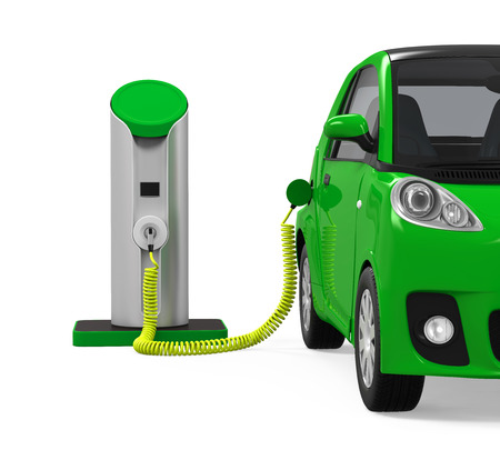 plug: Electric Car in Charging Station