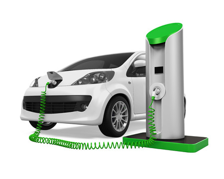 electric station: Electric Car in Charging Station