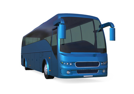 Blue Travel Bus Stock Photo