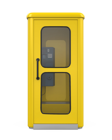 street symbols: Yellow Telephone Booth Stock Photo