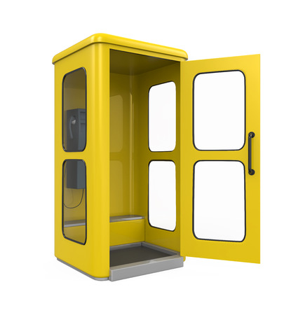 payphone: Yellow Telephone Booth Stock Photo
