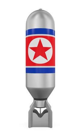 north korea: Atomic Bomb with North Korea Flag