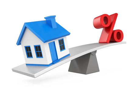 Seesaw, House and Percent Symbol Stockfoto