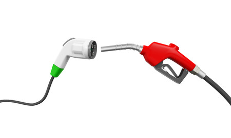 eco car: Electric Vehicle Charging Plug and Gas Nozzle