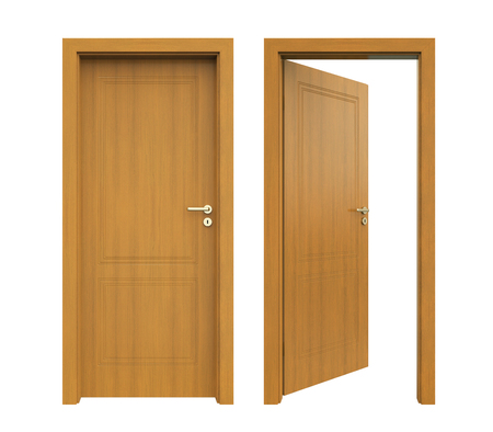 wood door: Closed and Open Doors