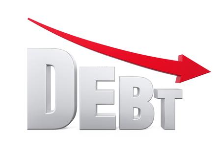 Concepto reducción de la deuda Foto de archivo