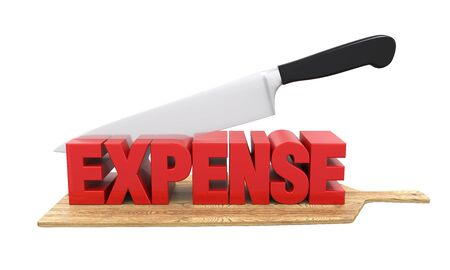 lowering: Expense Cuts Concept Stock Photo