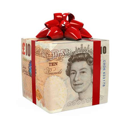 Great Britain Pound Money Gift Box Stock Photo