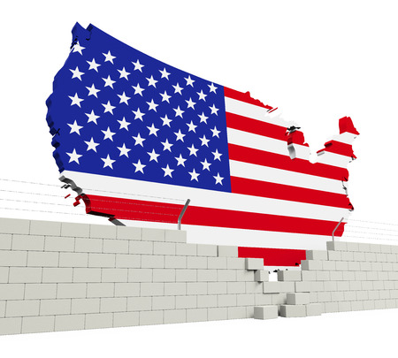 American Map and Brick Wall Stock Photo