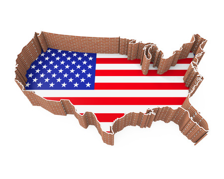 donald: American Map and Brick Wall Stock Photo