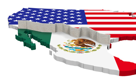 usa flags: Border Wall Between America and Mexico