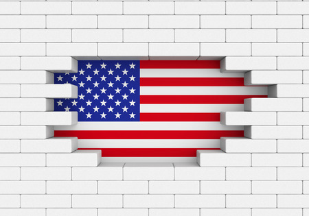 president of mexico: American Flag Brick Wall