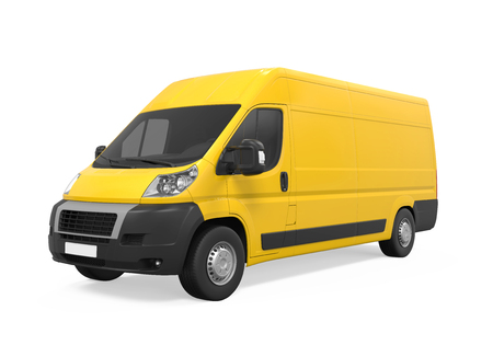 Yellow Delivery Van Isolated Stock Photo