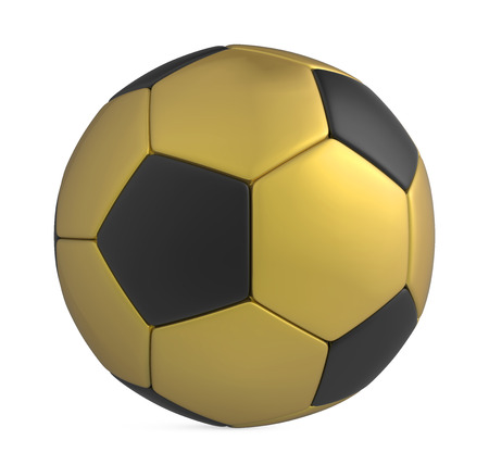 golden ball: Golden Soccer Ball Isolated Stock Photo
