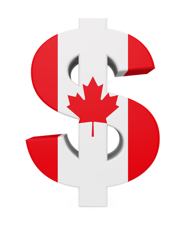 canadian flag: Dollar Sign with Flag of Canada Stock Photo