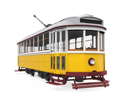 分離されたビンテージの路面電車