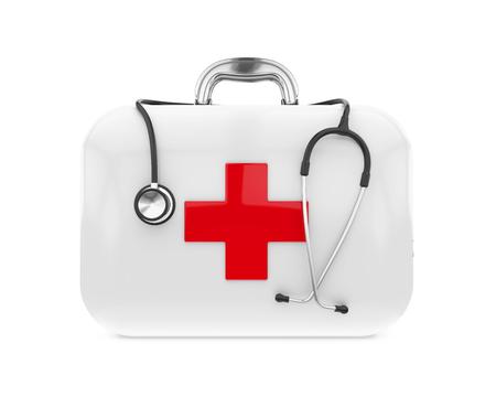 응급 처치 키트 및 청진기 스톡 콘텐츠