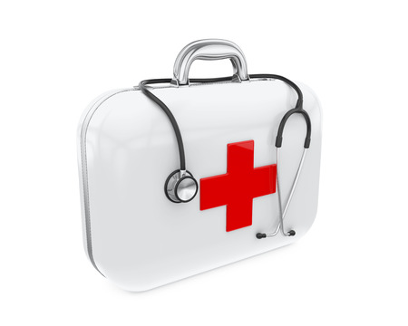 firstaid: First Aid Kit and Stethoscope Stock Photo