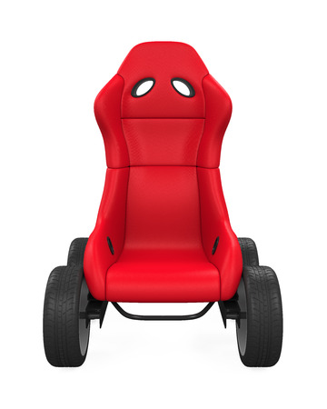 car: Sport Car Seat on Wheels Isolated