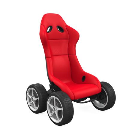 car wheels: Sport Car Seat on Wheels Isolated