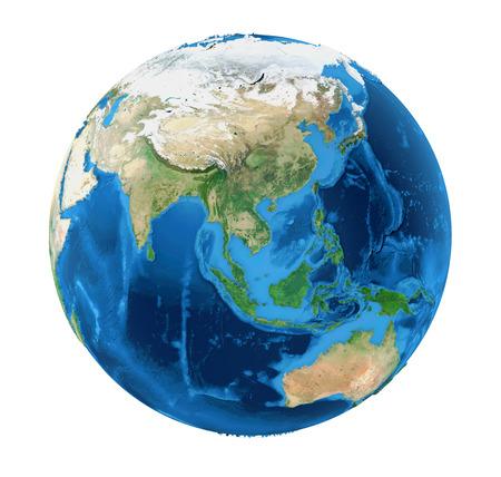 地球世界アジア ビュー ホワイト バック グラウンド (NASA から提供されたこのイメージの要素) に分離