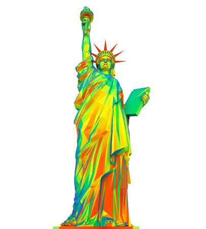 famous people: Colorful Statue of Liberty Isolated